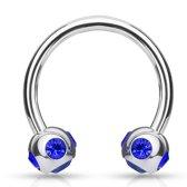 smiley piercing crystal ball ring blauw