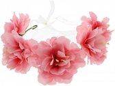 Grote bloemen haarband krans met ijzerdraad en lint roze - One size - Zac's Alter Ego