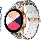 Luipaard Siliconen Bandje voor 20mm Smartwatches van Samsung, Pebble, Garmin, Huawei, Moto, Ticwatch, Seiko, Citizen en Q – 20 mm leopard rubber smartwatch strap - Gear S2 - Watch Active - 4You Webventures