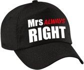Mrs Always right pet / cap zwart met witte en roze letters voor dames - verkleedpet / feestpet - vrijgezellenfeest