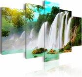 Schilderij - Waterval, Blauw/Groen/Wit, 5luik
