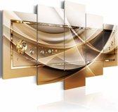 Schilderij - Gouden omlijsting , beige bruin , goud look , 5 luik , 2 maten
