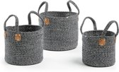Kave Home - Sophia set van 3 manden - Zwart, Naturel