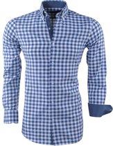 Montazinni - Heren Overhemd - Geblokt - Blauw
