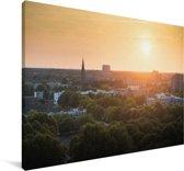 Zonsondergang over de Nederlandse stad Eindhoven Canvas 140x90 cm - Foto print op Canvas schilderij (Wanddecoratie woonkamer / slaapkamer) / Europese steden Canvas Schilderijen