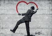 Fotobehang Street Art | Zwart, Rood | 312x219cm