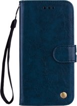 Mobigear Olie Wax Texture Lederen Wallet Book Case Navy Blauw Honor 8X