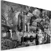 Schilderij - De essentie van Londen, Zwart-Wit, 2 Maten, 3luik