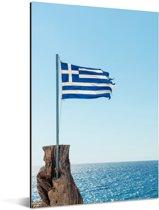 Griekse vlag voor de blauwe zee Aluminium 120x180 cm - Foto print op Aluminium (metaal wanddecoratie) XXL / Groot formaat!