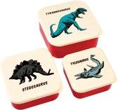 Snackbox / opbergdoosjes set Dino / Dinosaurus - 3 stuks