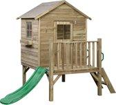 SwingKing Speelhuisje Camilla met 1,2 m glijbaan (177x184x210cm) - Groen