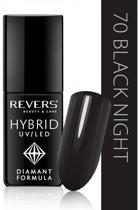 REVERS® Hybrid Nail Polish UV/LED 6ml. #70 Black Night