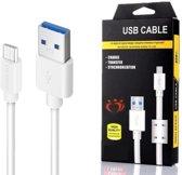 Olesit K107 Micro USB Kabel 1.5 Meter Laadt tot 30% Sneller Op - Lader 2.1A High Speed Laadsnoer Oplaadkabel - Zware Kwaliteit Kabel - Data Sync & Transfer - geschikt  voor de Samsung Modellen - Wit