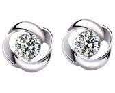 Fate Jewellery Oorbellen FJ207 - Revolving Flower - 6mm - Zilverkleurig met zirkonia kristal