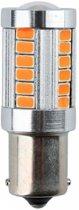 Auto LEDlamp 2 stuks   LED BA15S knipperlicht   33-SMD oranje met lens   12V