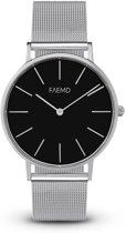 FAEMD Soleil Mesh Series - Horloge - Dames - Classic Zilver/Zwart - Mesh - Zilver - Ø 37 mm