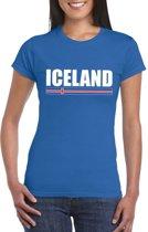 Blauw IJsland supporter t-shirt voor dames 2XL