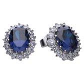 Diamonfire - Zilveren oorknoppen Ovale Blauwe Steen - The Royal - Inspired by Kate