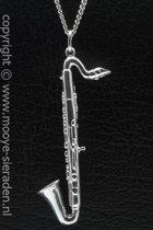 Zilveren Saxofoon groot ketting hanger