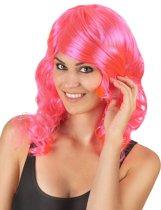 """""""Roze half lange glamour pruik voor vrouwen - Verkleedpruik - One size"""""""