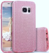 Samsung Galaxy S6 Edge - Glitter Backcover Hoesje - Roze