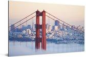 Mistig rond de Golden Gate Bridge en San Francisco Aluminium 90x60 cm - Foto print op Aluminium (metaal wanddecoratie)