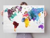 REINDERS Wereldkaart aquarel - Poster - 91,5x61cm