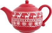 Clayre & Eef Kersttheepot 24 x 15 cm - wit/rood