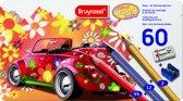 Kleurblik 60-delig Super Sixties Kever met gum en slijper - Kleurpotloden