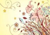 Fotobehang  Floral Pattern  | XL - 208cm x 146cm | 130g/m2 Vlies