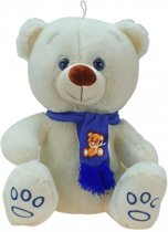 Grote pluche knuffelbeer Wolly creme-blauw 100 cm