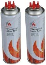 2x Aansteker gas / butaan gasfles - 250 ml - aanstekervulling