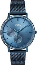 Hugo Boss HB1502518 quartz  blauw - edelstaal (Milanees) band 3 ATM (handen wassen)