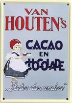 Van Houten Cacao Chocolade reclame Meisje reclamebord 20x30 cm