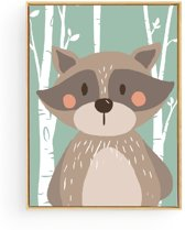 Postercity - Design Canvas Poster Wasbeer in het Bos / Kinderkamer / Muurdecoratie / 40 x 30cm / A3