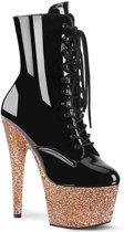 Pleaser Enkellaars -39 Shoes- ADORE-1020LG Zwart/Roze