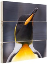 Koningspinguin portret Hout 60x40 cm - Foto print op Hout (Wanddecoratie)