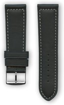 Zwarte sport horlogeband  in Frans leder met wit stiksel (made in France) 20 mm