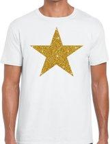 Gouden ster glitter fun t-shirt wit heren - heren shirt Gouden ster M