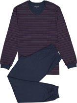 Schiesser heren pyjama - donkerblauw met rood dessin -  Maat S