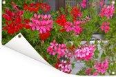 Geranium bloemen in de tuin Tuinposter 180x120 cm - Tuindoek / Buitencanvas / Schilderijen voor buiten (tuin decoratie) XXL / Groot formaat!