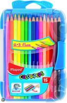 Color'peps kleurpotlood - in onbreekbare platte doos x 12 + 3 Fluo  potloden - blauw