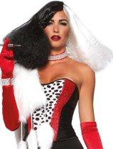 Diva Disco pruik zwart/wit - Kostuum Party Disney - Leg Avenue