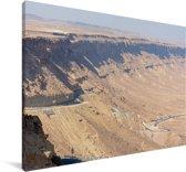 Bergwand in de Makhtesh Ramon in Israël Canvas 140x90 cm - Foto print op Canvas schilderij (Wanddecoratie woonkamer / slaapkamer)
