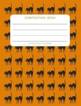Scary Black Cat Pattern - Composition Book: College Ruled - 200 pages - 100 Sheets - 7.44''x 9.69''
