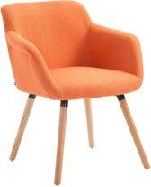 Clp Debbie - Eetkamerstoel - Stof - oranje kleur onderstel : natura,