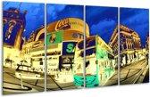 Glasschilderij Londen | Geel, Blauw, Groen | 160x80cm 4Luik | Foto print op Glas |  F003442