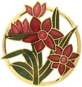 Behave® Dames Broche rond met bloemen rood groen - emaille sierspeld -  sjaalspeld  4 cm