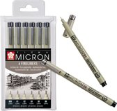 Pigma Micron set 6 fineliners zwart (0,2 - 0,25 - 0,3 - 0,35 - 0,45 - 0,5 mm)