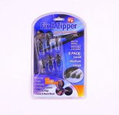Rits repareer set, Fix a Zipper, set van 6 stuks, 2x small, 2x medium, 2x large, kleur zwart
